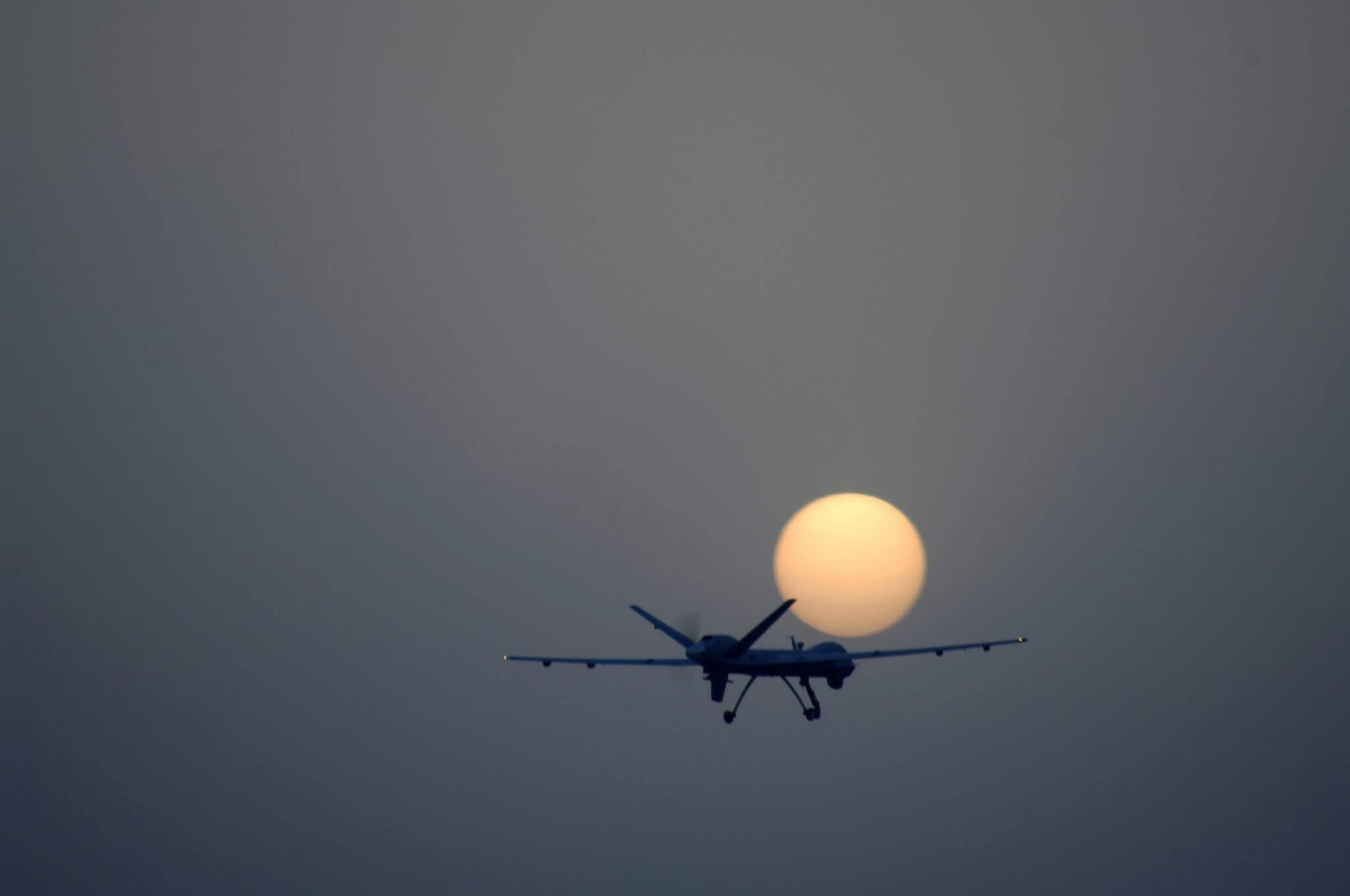 JOINT BASE BALAD, Iraq -- An MQ-9 Reaper remotely piloted aircraft takes off from Joint Base Balad, Iraq, July 17. The Reaper can loiter over battlefields or targets for hours at a time without refueling and carries up to 3,750 pounds of laser-guided munitions, giving ground commanders unprecedented situational awareness and the ability to bring the right amount of force to bear on a target. The Reaper, deployed from Creech Air Force Base, Nev., flew its first combat mission over Iraq July 18. (U.S. Air Force photo/Tech. Sgt. Richard Lisum)