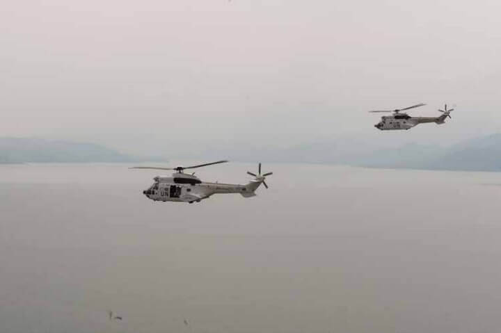 UN helicopters transporting Secretary-General Ban Ki-moon to Mungote IDP camp in North Kivu Province, Eastern DRC. (UN Photo/Eskinder Debebe)
