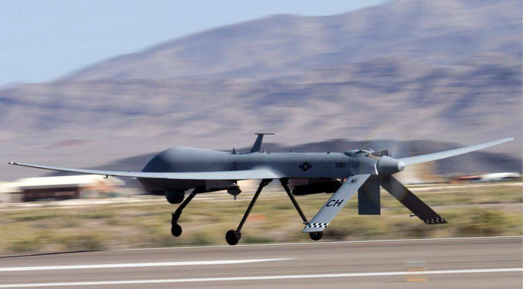 A MQ-1B Predator unmanned aircraft system takes off for a training mission at Creech Air Force Base, Nev.