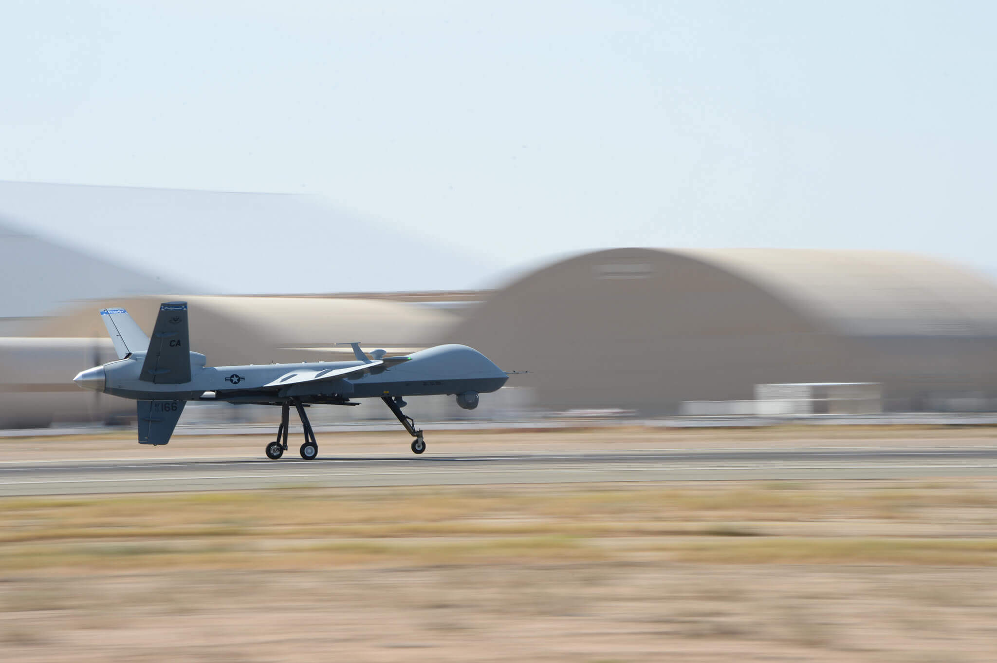 For the first time ever, the 163rd Reconnaissance Wing flies the MQ‐9 Reaper in the airspace over the Southern California Logistics Airport in Victorville, Calif., July 30, 2014. (Air National Guard photo by Senior Airman Michael Quiboloy/Released)