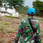 UN Peacekeeping troops from Indonesia in the Central African Republic (CAR) prepare a UN compound in the capital Bangui on 12 June 2014.
